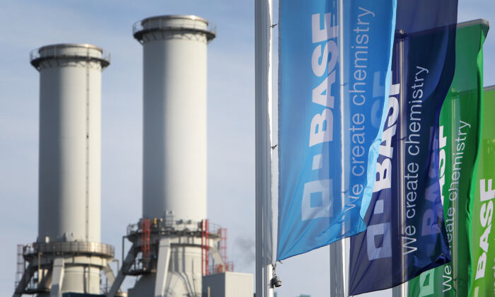 Flags with the logo of German chemicals company BASF flutter in front of the company's headquarters in Ludwigshafen, western Germany, on Feb. 24, 2017.