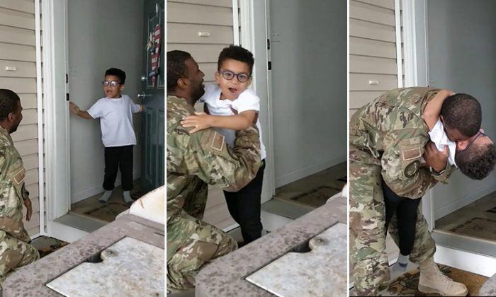 5-year-old Cade breaking down upon realizing his father, Airman Cameron Yancey, is the one knocking on the front door. (Facebook   Cameron Yancey)