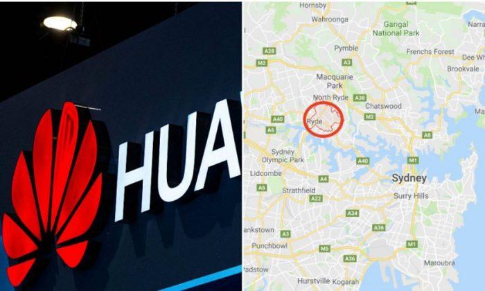 L: Huawei Logo (David Ramos/Getty Images) R: Ryde in Sydney, Australia (Google Maps)