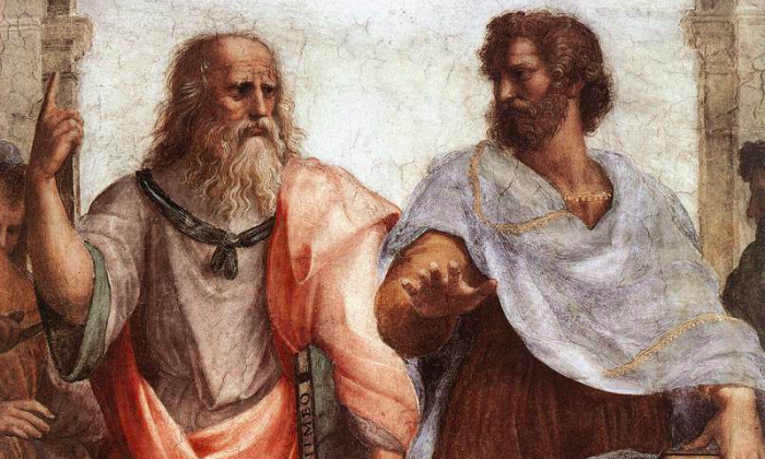 "Plato (L) and Aristotle in Raphael's 1509 fresco, ""The School of Athens."" (Public domain)"