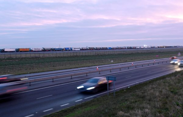 Trucks are seen in line at Manston Airport