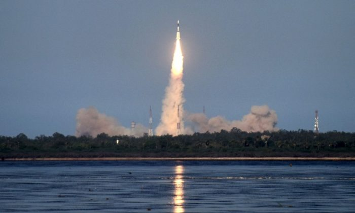 The Indian Space Research Organisation's (ISRO) GSAT-9 on board the Geosynchronous Satellite Launch Vehicle (GSLV-F09), launches in Sriharikota in the state of Andhra Pradesh on May 5, 2017. (Arun Sankar/AFP/Getty Images)