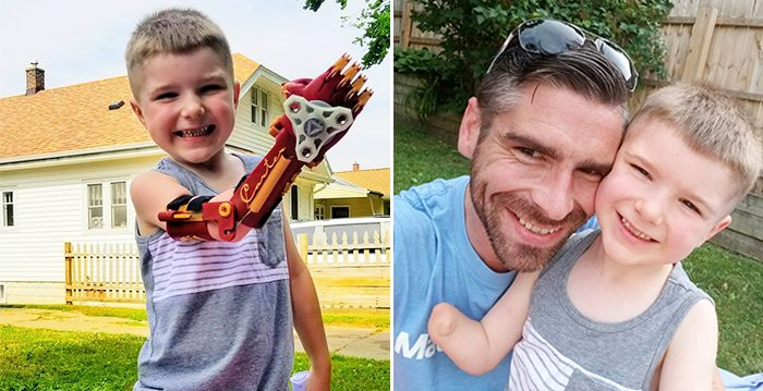 (Left) Four-year-old Carter Campos showing off the invention that his father (right) Michael Campos whipped up for him via 3d-printer. (Facebook   Claws from Carter)