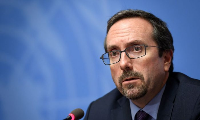 US Ambassador to Afghanistan John Bass attends a press conference during the UN Conference on Afghanistan in Geneva, on Nov. 27, 2018. (Fabrice Coffrini/AFP/Getty Images)