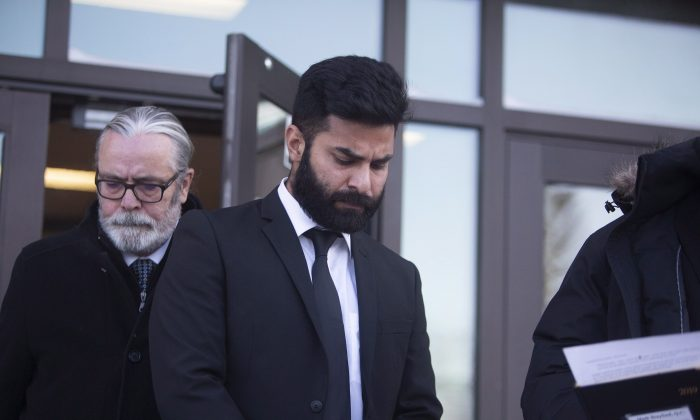 Jaskirat Singh Sidhu leaves provincial court in Melfort, Sask., on Jan. 8, 2019. (The Canadian Press/Kayle Neis)