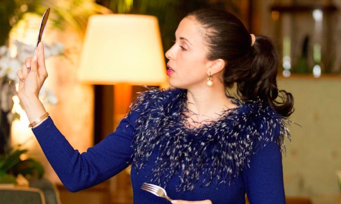 Myka Meier demonstrates dining etiquette. (Courtesy of Beaumont Etiquette)