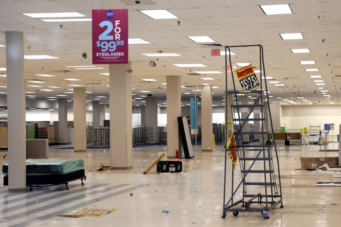 The inside of a Sears department store is seen one day after it closed