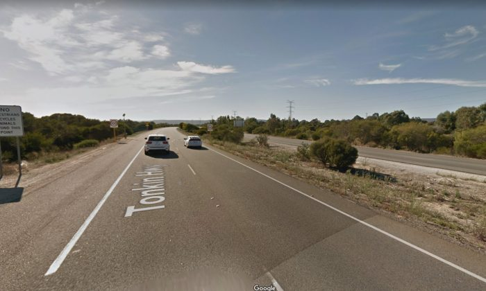 The section of Tonkin Highway in Perth, Australia, where a 4-year-old boy was seen on top of a car roof on Jan. 4, 2019. (Screenshot/Google Maps)