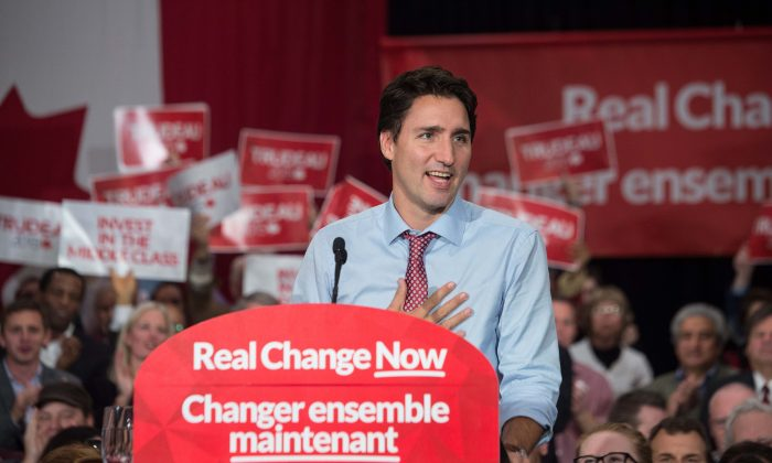 After winning the general elections Canadian Liberal Party leader Justin Trudeau speaks at a victory rally in Ottawa on Oct. 20, 2015.  (NICHOLAS KAMM/AFP/Getty Images)