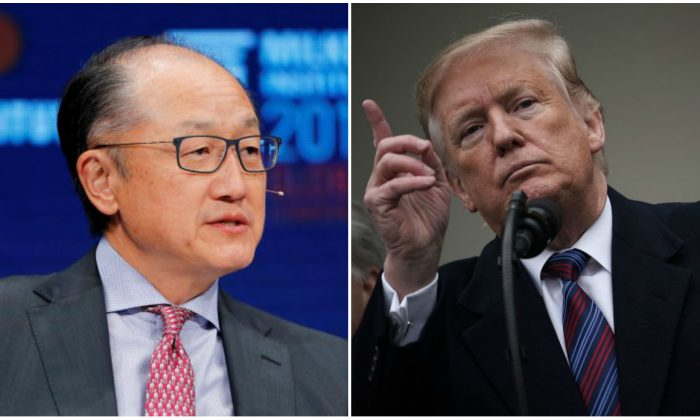 (L) Jim Yong Kim, president of the World Bank Group, in Beverly Hills, Calif., on May 1, 2018. (Mike Blake/Reuters). (R) U.S. President Donald Trump speaks in the Rose Garden of the White House on January 4, 2019 in Washington, DC. (Alex Wong/Getty Images)