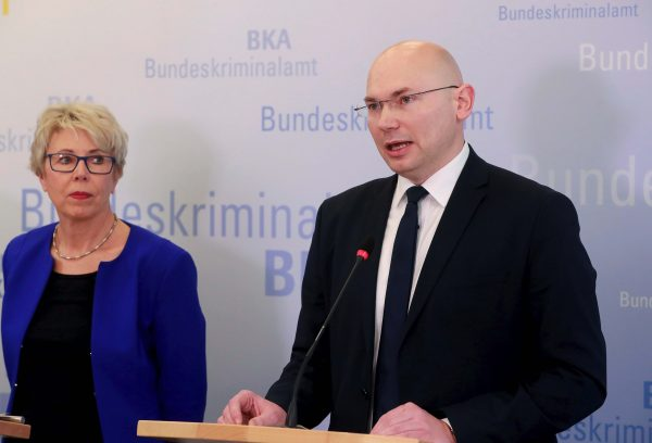 Sabine Vogt (L) of Germany's federal criminal police BKA and prosecutor Georg Ungefuk