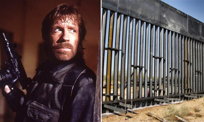 """(L) Chuck Norris in his movie, """"The Delta Force"""", and (R) the U.S. southern border wall (L: Wikimedia 