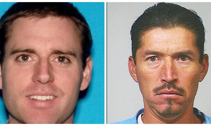 L:Tristan Thomas Beaudette (L) who was camping with his two children in Malibu Creek State Park was murdered on June 22, 2018.  R: Anthony Rauda, was charged in the murder of Tristan Beaudette.(California Department of Corrections and Rehabilitation via AP, Los Angeles County Sheriff's Department)