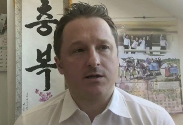 Canadian citizen Michael Spavor, who is detained in China, in a file photo taking part in an interview from Yangi, China March 2, 2017. (AP Photo)