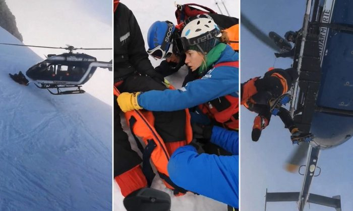 A dramatic rescue was caught on camera in the French Alps on Jan. 3, 2018. (Nicolas Derely via Storyful)