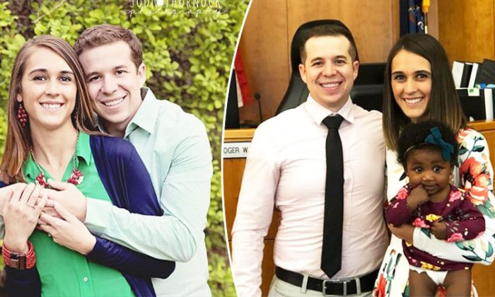 On the left, newlyweds Tori Story and her husband, Jake, pose for a photo, and on the right, the couple poses with their adopted daughter, Londyn Lou. (Facebook | Tori Strohecker Story)