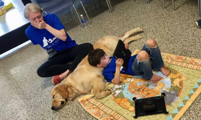 Shanna Niehaus's son, Kai was born with Autism. He shares a purposeful, unspoken attachment with his Autism Service Dog, Tornado. (Facebook | Love What Matters)