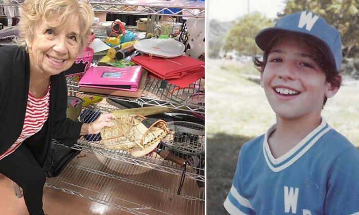 (Left) Julie Anne with the baseball glove she discovered at the Jupiter Goodwill Super Store in Florida. (Right) The childhood photo of her then-12-year-old son Christopher Lisi. (L: Facebook | Julie Anne Lisi, R: Facebook | Bryant Somerville)