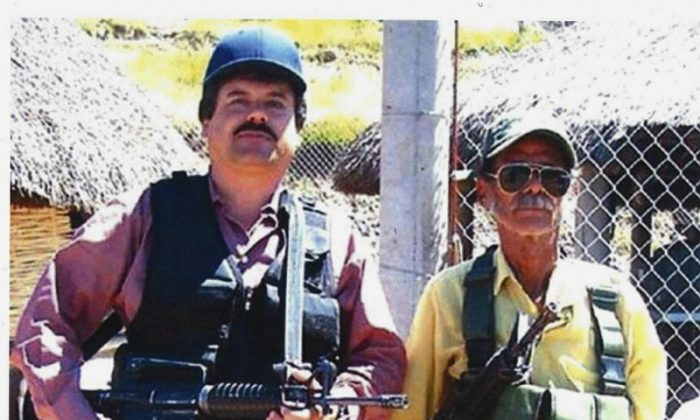 "Joaquin ""El Chapo"" Guzman, left, poses with an unidentified man. (United States Attorney's Office for the Eastern District of New York)"