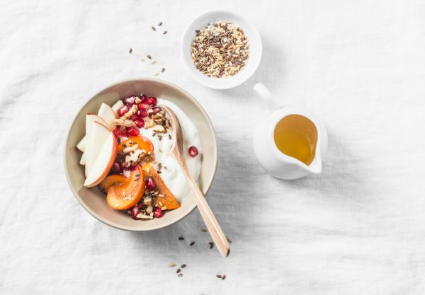 Full fruit and greek yogurt breakfast bowl