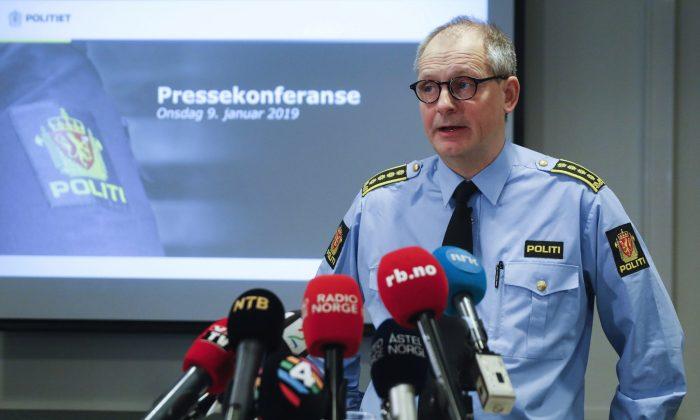 Police inspector Tommy Brøske speaks during a press conference in Lillestrom, Norway, Jan. 9, 2019. (Ole Berg-Rusten/NTB scanpix via AP)