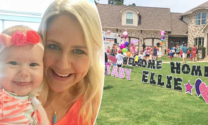 """(Left) Emily Boedeker holds her preemie daughter, Eliana """"Ellie"""" Faith, before (right) a surprise homecoming party moved the family to tears. (L: Instagram 