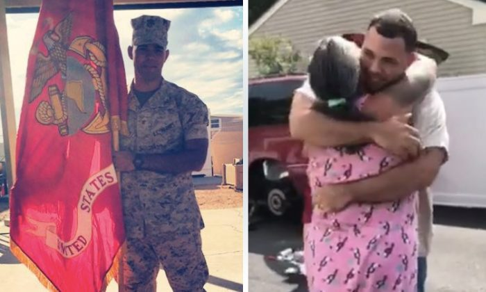 (Left) Angel Santiago surprises his mother (right) after a 4-year-long deployment overseas. (Facebook | Angel Santiago)