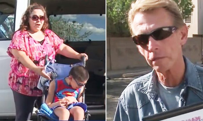 Single mom Christine Guerra-Candelaria, struggles as she lifts her handicapped son every time to the car, but in 2017 a restaurant owner gifts her handicap van equipped with a lifting platform. (YouTube Screenshot   KOAT)