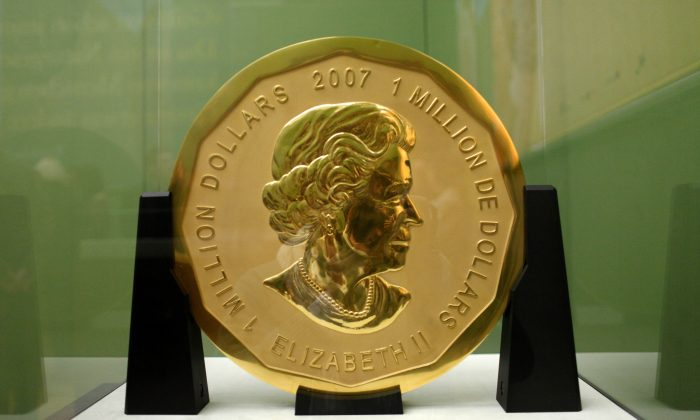 """The """"Big Maple Leaf"""" gold coin is seen in a Dec. 8, 2010, file photo. Thieves stole the multi-million-dollar-valued item from a Berlin museum on March 27, 2017. (Marcel Mettelsiefen/AFP/Getty Images)"""
