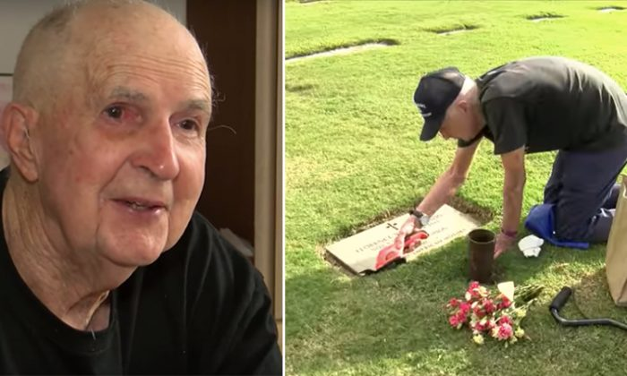 (L) Ted shows old photo of himself and his wife KNOE 8 News; (R) He has been visiting her grave for the past 5 years. (YouTube Screenshot | CBS 17)