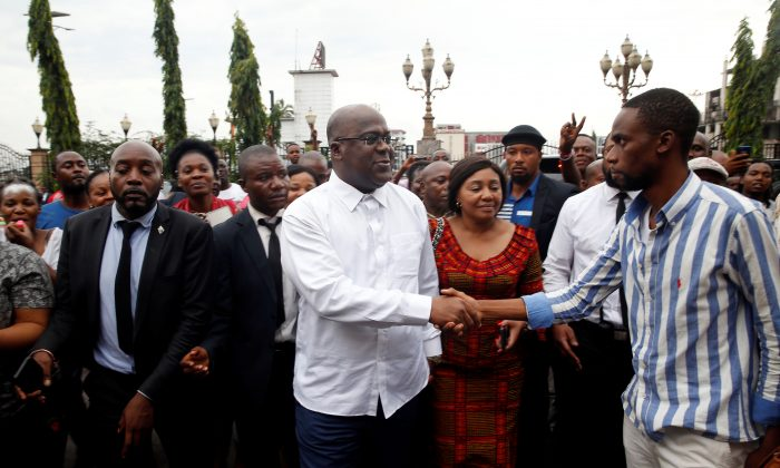 Felix Tshisekedi, leader of the Congolese main opposition party, the Union for Democracy and Social Progress (UDPS) who was announced as the winner of the presidential elections walks after meeting to his supporters in Kinshasa, Democratic Republic of Congo, Jan. 10, 2019. (Baz Ratner/Reuters)