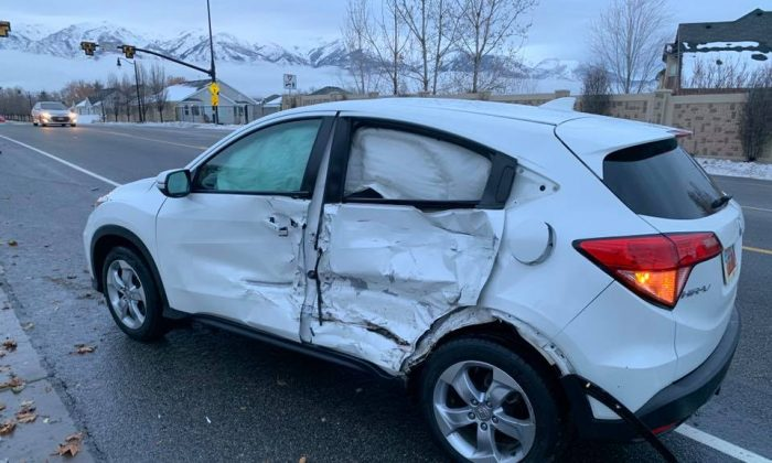 """A 17-year-old girl veered into oncoming traffic and slammed into another vehicle when she chose to do the so-called """"Bird Box Challenge"""" and drive blindfolded, the Layton Police Department said on Jan. 11, 2019. (Layton City Police Department)"""