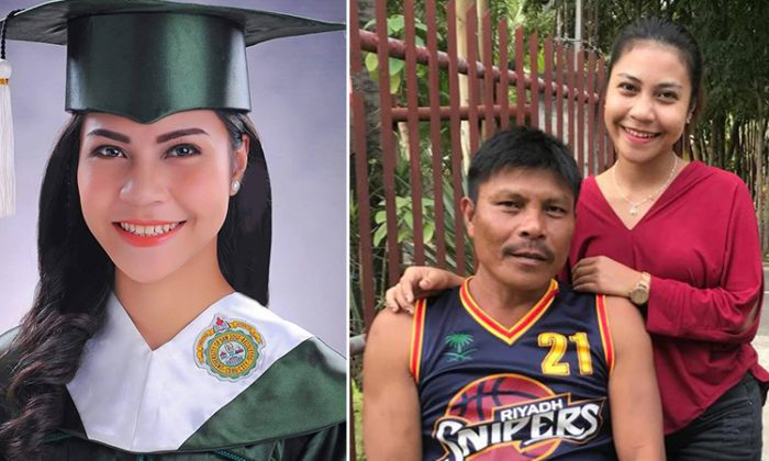 "(Left) Regine ""Rej"" Cañete Villamejor in her cap and gown and (right) her standing with her father. (Facebook 