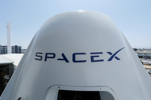 replica Crew Dragon spacecraft is show at SpaceX headquarters