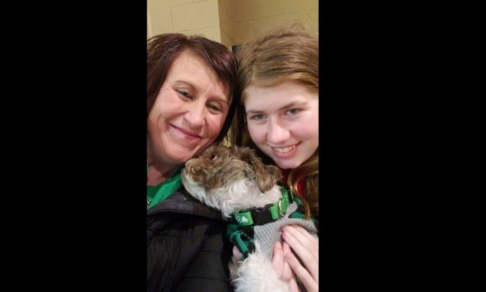 Jayme Closs, 13, right, with her aunt Jennifer Smith, in a photograph taken on Jan. 11, 2019, one day after Closs escaped from captivity in Gordon, Wis. (Jennifer Smith)