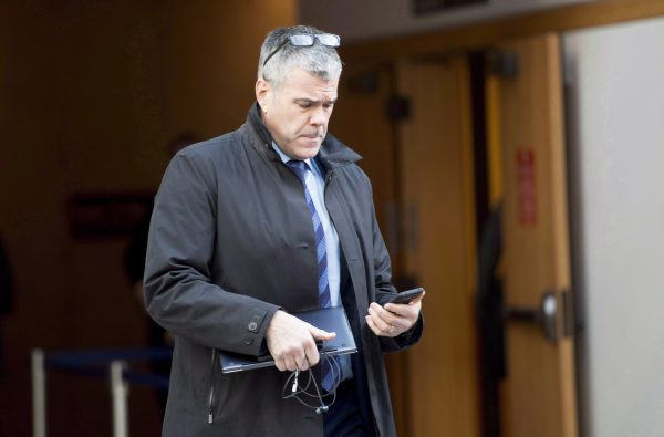 Scott Bradley, then the senior vice president of corporate affairs for Huawei Canada, shown outside a bail hearing for Huawei's chief financial officer Meng Wanzhou in Vancouver, Dec. 10, 2018. (The Canadian Press/Jonathan Hayward)