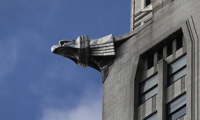 A sculptured eagle adorns the Chrysler Building, on Jan. 9, 2019, in New York. The art deco masterpiece that was briefly the world's tallest skyscraper when it was completed in 1930 is up for sale. (AP Photo/Mark Lennihan)
