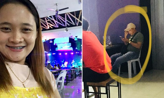 24-year-old Xiannie Delfin's overprotective father, policeman Rolly, acts as a bodyguard for her at the bar. (Facebook   Xiannie Delfin)