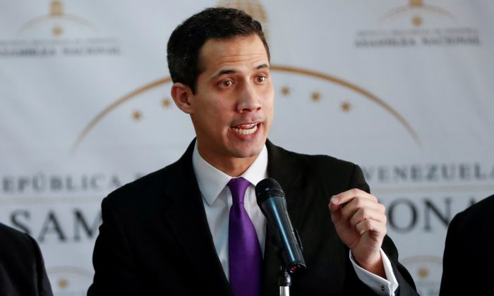 Juan Guaido, President of the Venezuelan National Assembly and lawmaker of the opposition party Popular Will, speaks during a news conference in Caracas, Venezuela, Jan. 10, 2019. (Reuters/Carlos Garcia Rawlins/File Photo)