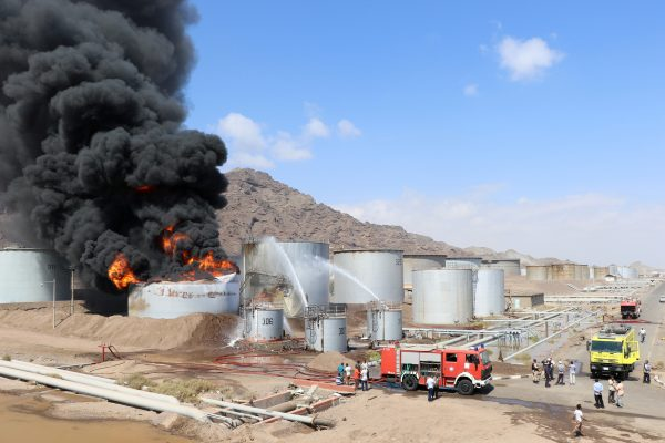 Storage tank on fire in Yemen