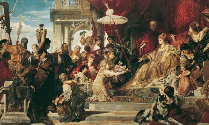 """Venice Pays Tribute to Caterina Cornaro"" by Hans Markart. (Public Domain)"