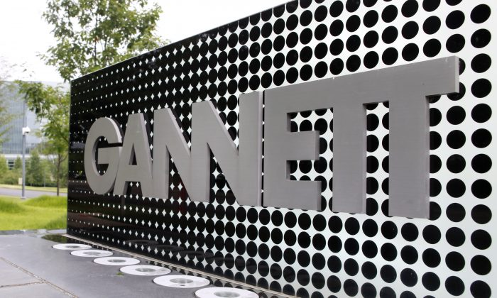 The Gannett Co. headquarters sign stands in McLean, Va. on July 14, 2010. (AP Photo/Jacquelyn Martin, File)