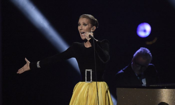 "Celine Dion performs at the ""Aretha! A Grammy Celebration For The Queen Of Soul"" event at the Shrine Auditorium in Los Angeles, on Jan. 13, 2019. (Richard Shotwell/Invision/AP)"