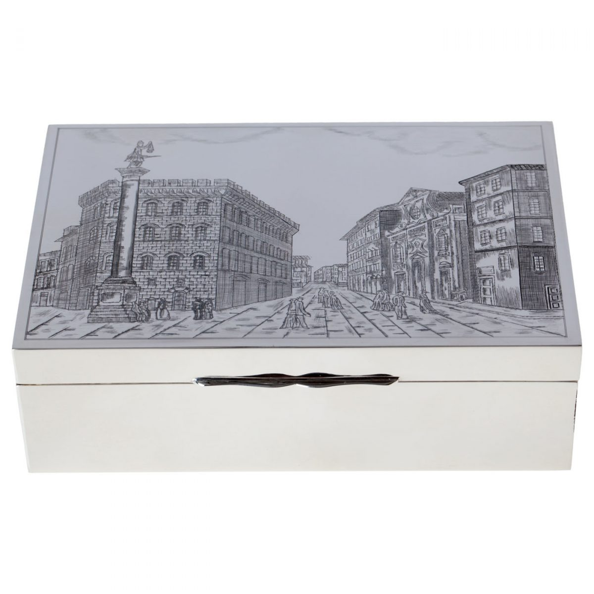 Sterling silver box with engraved scene