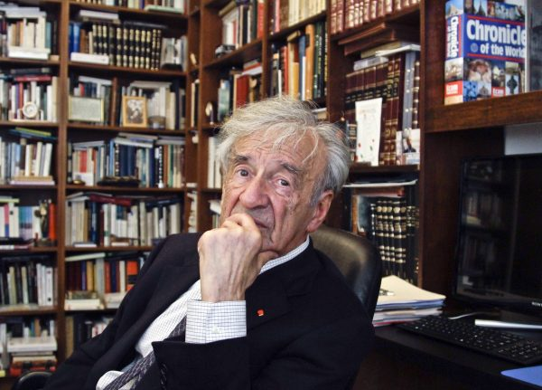 Nobel laureate and Holocaust survivor Elie Wiesel is photographed in his office in New York in this file photo from Sept. 12, 2012. (AP Photo/Bebeto Matthews)