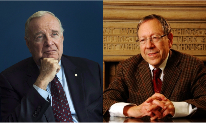 Former Canadian prime minister Paul Martin (L) has nominated human rights advocate Irwin Cotler (R) for the Nobel Peace Prize. (L: Adrian Wyld/The Canadian Press); (R: Jonathan Ren/NTD Television)