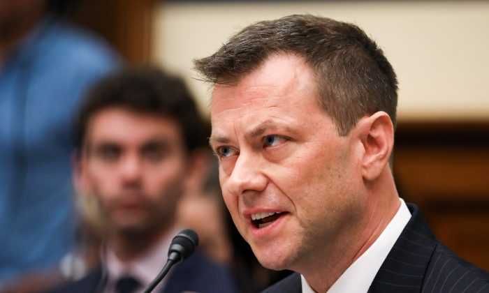 """FBI Deputy Assistant Director Peter Strzok testifies at the Committee on the Judiciary and Committee on Oversight and Government Reform Joint Hearing on, """"Oversight of FBI and DOJ Actions Surrounding the 2016 Election"""" in Washington on July 12, 2018. (Samira Bouaou/The Epoch Times)"""