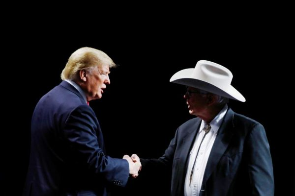 President Donald Trump greets Arizona farmer Jim Chilton