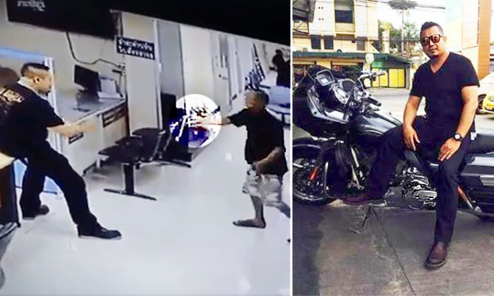 Police officer in Thailand confronting knife-wielding suspect caught on CCTV. (L: Facebook Video Screenshot | Newsner.com, R: Facebook | Anirut Malee)