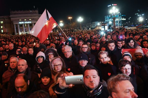 Thousands of people gather to protest against violence and honor Pawel Adamowicz in Warsaw